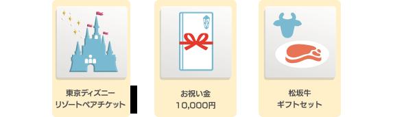 東京ディズニーリゾートペアチケット、お祝い金1万円、松阪牛ギフトセットなど